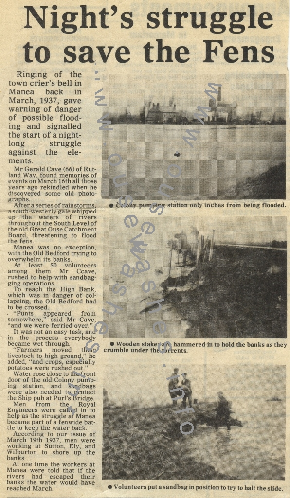 press cutting of the 1937 floods